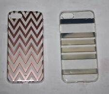 2 x Xqisit Zigzag Rose Gold Case & Mirror Stripes Shell Case  for  iPhone 7 -NEW