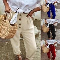 New Women Retro High Waist Pure Color Button Elastic Waist Casual Long Pants AU
