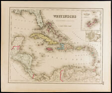 Mapa Antigua (1857) Antillas [Colton]. antigua Map Westindies, Cuba, Jamaica