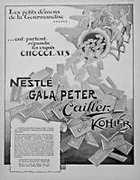 PUBLICITÉ DE PRESSE 1926 CHOCOLATS NESTLÉ GALA PETER CAILLER KOHLER - DÉMONS