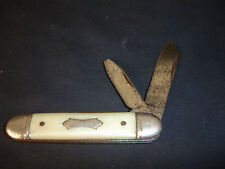 Old Vtg Ideal Collectible Folding Pocket Knife Blade Made In USA Cream Handle