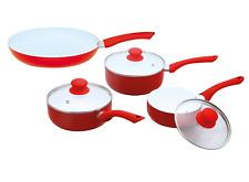 7pc Ceramic Non Stick Saucepan Frypan Milkpan Cooking Pan Glass Lid Cookware Set