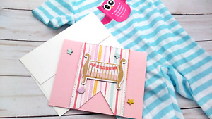 Handmade Greeting Card Baby Girl Pink on Pattern Paper A2 Size Celebration