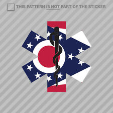 Ohio State Shaped EMT Flag Sticker Self Adhesive Vinyl EMS Paramedic OH