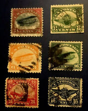 U.S. SCOTT #C1-C6 AIR MAIL STAMPS- USED-HINGED-FINE TO VERY FINE