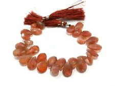 5 Pcs Natural Sunstone Pear Almond Faceted Briolette 8x10-9x15mm Beads