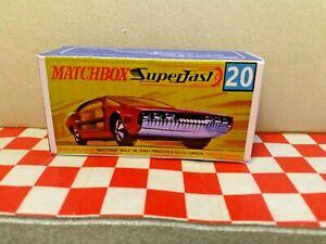 Matchbox Lesney Superfast No20 Lamborghini Marzal Empty Repro Box