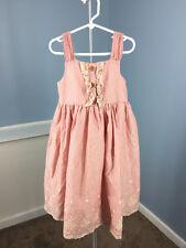 new Laura Ashley London 6 6x Red pink stripe Eyelet Scalloped Easter dress Girls