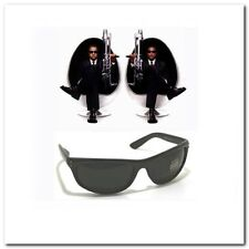 MIB Men In Black Frame Celebrity Movie Wrap Sunglasses Super Dark Smoke Lenses
