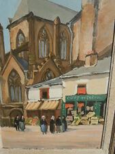 Tableau huile sur panneau personnages magasin Cuirs et Crépins signé