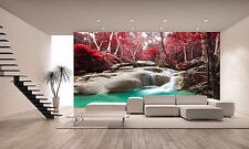 Photo Wallpaper Deep Forest Waterfall GIANT WALL DECOR PAPER POSTER FOR BEDROOM