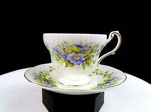 """ROSINA QUEENS CHINA ENGLAND WILD FLOWER FOOTED RIBBED 2 7/8"""" CUP & SAUCER 1952-"""