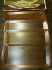 Set of 4 Vintage Brown Haskelite Coronet Buffet/Lap Trays with Box