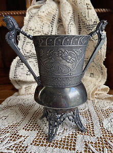 1880s Aesthetic Rockford Silver Plate Two Hand Cup Vase Wedding Bacchus Dionysus