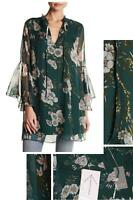 Lola Grace Womens Floral Woven Patterned Tunic Blouse Shirt Top. 67391 Green L