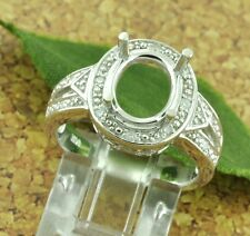 14k Solid White Gold 0.15 ct Ladies Semi Mount Diamond Ring made in USA fit 9x11