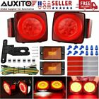 Pair Red LED Submersible Stop Brake Trailer Tail Lights Square 80 License USA