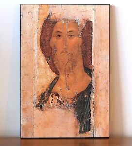 LARGE RUSSIAN ORTHODOX WOODEN ICON -THE SAVIOUR. FROM THE DEISUS CHIN (ROW) BIG