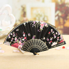 Chinese Spanish Lace Folding Lace Silk Hand Held Dance Fan Flower Feather