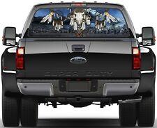Tribal Bull Skull Version 1 Rear Window Graphic Decal Truck