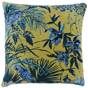 """Velvet Cushion Covers Amazon Jungle Teal Cushions Cover 22"""" x 22"""" by Paoletti"""