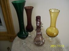 Mid Century & Antique 4 Footed Glass Bud Vases Bohemian, Gold, Green & Amethyst