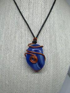 Cobalt Blue Copper Wire Wrapped Pendant