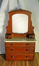 NEW VICTORIAN DOLLHOUSE WALNUT DRESSER/CHEST WITH MIRROR, 5 WORKING DRAWERS