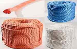 Polypropylen gedreht PP Seil 6-18mm 220m Allzweck Tau Tauwerk blau weiß orange
