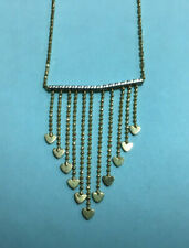 """Ladies Fancy Heart & Bead Chain Necklace ~ 14K Yellow & White Gold ~ 17"""""""