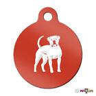 American Bulldog Engraved Keychain Round Tag w/tab bully Many Colors