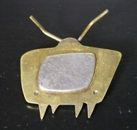 VINTAGE MIXED METAL TV PIN BROOCH BRUTALIST BRASS SILVER TONE