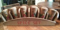 Rooster Wooden Spice Rack & 6 Shakers Retro 1950s 1960s Kitchen Japan
