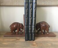 "Vintage Teak Wood Carved Elephant Bookends With Tusks And Eyes 7"" Made In India"