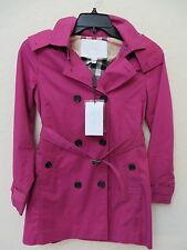 Girls Burberry Childrens Fuschia Rain coat with coat. Size 10Y US $ 450.00