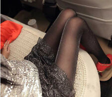 Women Lady Silver Shimmer Glitter Shine Party black Pantyhose Stockings Tights