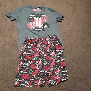 Justice Leage shield PJ pyjama T-shirt shorts set size S M L brand new