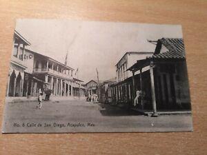 Vintage Postcard - Mexico Calle de San Diego, Acapulco, Mexico early 1900's.