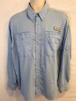 Columbia PFG Mens L Large Long Sleeve Button Down Vented Fishing Shirt UPF 30+