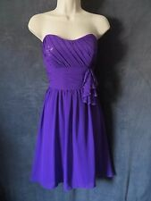 Alfred Angelo Purple Chiffon Strapless Sequin Illusion Baby Doll Swing Dress M