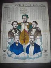 CALENDRIER 1849 NAPOLEON BONAPARTE