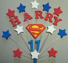 Handmade Personalised Superman Superhero Birthday Cake Topper (unofficial)