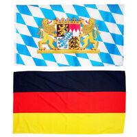 Fahne Querformat 90x150 Bayern großem Staatswappen + Deutschland Oktoberfest