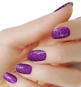 Purple glitter color wraps real nail polish strips M35 street art