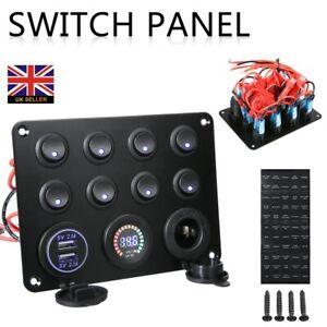 8 Gang Campervan LED Light Switch Control Panel Voltmeter RV 12V 2 USB Charger