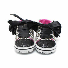 NEW Baby Girl Leopard Print Sequin Flower High Tops Sneakers Crib Shoes 0-6 M