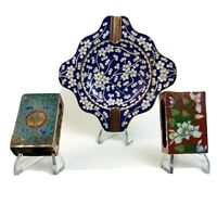 Antique Chinese Cloisonne Bronze Over Enamel Match Boxes and Ashtray Set
