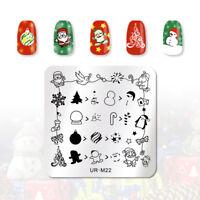 UR SUGAR Nail Stamping Template Square Snowflake Image Nail Stamp Plate UR-M22