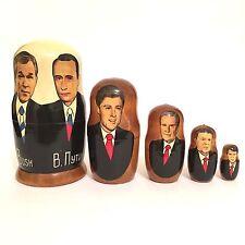 Presidents Bush, Putin, Clinton, Bush Sr, Reagan, Carter Russian Nesting Dolls