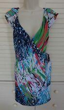 Alberto Makali Stunning Vibrant Graphic Print Faux Wrap Dress w/Side Tie Size M
